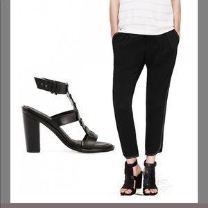 rag & bone Black Deane T-Strap Leather Sandals  41